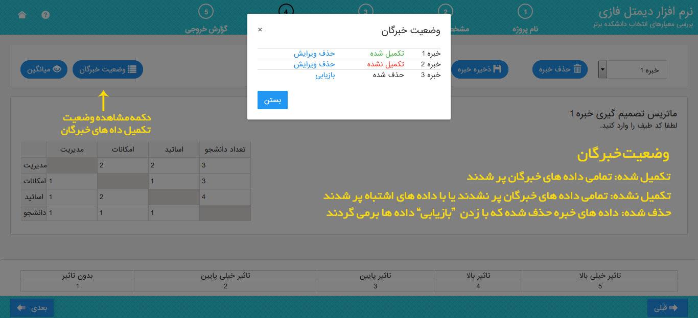 نرم افزار دیمتل فازی - وضعیت خبرگان