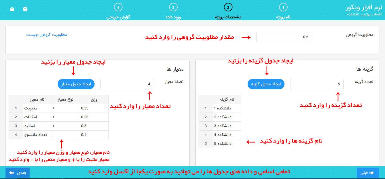 نرم افزار ویکور - مشخصات پروژه