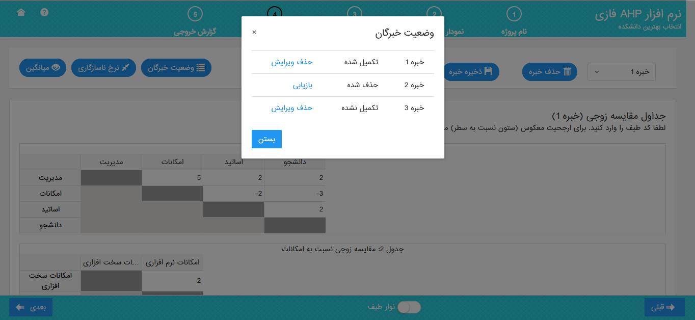 نرم افزار AHP فازی - وضعیت خبرگان